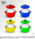 Pan vector kitchenware or cookware for cooking food and kitchen utensil illustration set of dishware 43642629