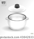Enameled white saucepan with lid. Realistic vector on transparent background, 3d illustration 43642633