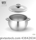 Steel saucepan with glass lid on a transparent background. Vector illustration template ready for 43642634