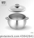 Metal saucepan with lid. Realistic vector on transparent background, 3d illustration 43642641