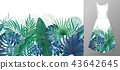 Hand drawn realistic branches and leaves of tropical plants. Vivid line horizontal leaves pattern 43642645