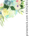 Watercolor greeting card with roses 43642801