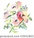 Greeting card with watercolor flowers handmade. 43642803
