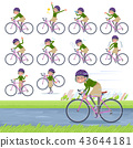 flat type green shirt old women_road bike 43644181
