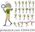 flat type green shirt old women_Action 43644194