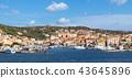 Seaside view of La Maddalena ton on Maddalena island of Caprera, Sardinia, Italy. 43645896