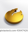 Gold fire flame with negative space. 3D render illustration 43647426