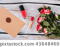 Flowers, makeup accessories and post mail with wax seal stamp. 43648460