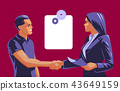 A man and a woman do a handshake.  43649159