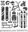 Winter Sport Equipment Silhouettes 43649741