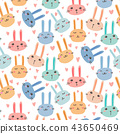 Cute Bunny Pattern Background. Vector Illustration 43650469