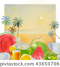 Summer time fruit and seascape. 43650706