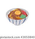 Beef bowl illustration 43650840