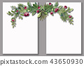 Christmas wreath with bright red cherry 43650930