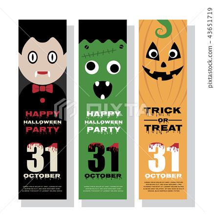 Halloween vertical banner design with mascot 43651719