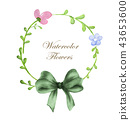 wreath of flowers and green bow 43653600