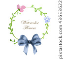 wreath of flowers and blue bow 43653622