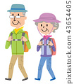 老年夫婦 遠足 登山 43654405