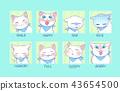 แมว,ไอคอน,การแสดงออกทางสีหน้า 43654500