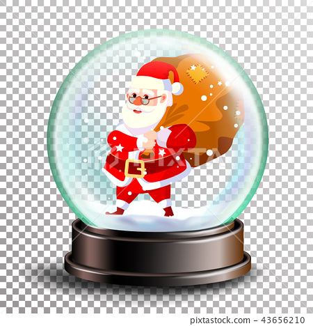 Christmas Snowglobe Vector. Cute Santa Claus With Gifts. Sphere Ball. Crystal Glass Empty Ball 43656210