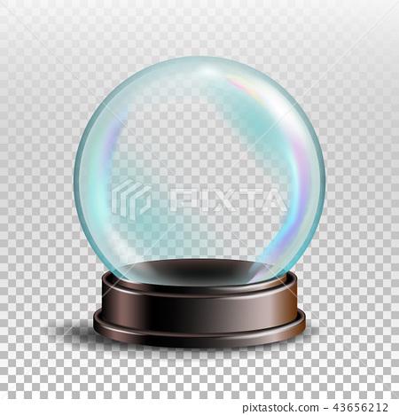Christmas Snowglobe Vector. Empty Snow Globe. Winter Xmas Design Element. Transparency Souvenir 43656212