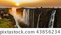 Victoria falls sunset panorama with orange sun and tourists 43656234