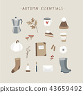 Autumn essentials. Set of cute hand drawn fall food, drink, fashion and lifestyle icons with coffeee 43659492