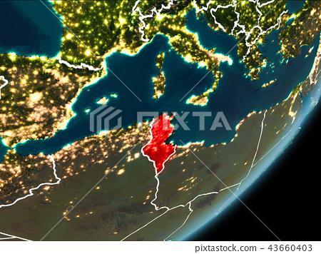 Tunisia on night Earth 43660403