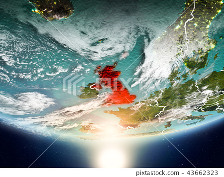 United Kingdom with sun on planet Earth 43662323
