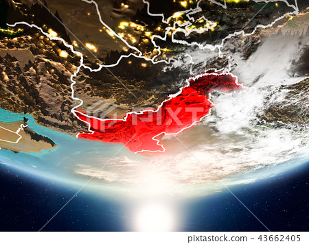 Pakistan with sun on planet Earth 43662405