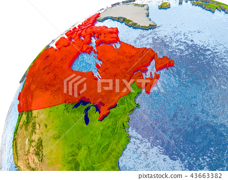 Map Of Canada On Globe.Map Of Canada In Red On Globe Stock Illustration 43663382 Pixta