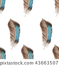 Seamless pattern of feathers in watercolor style 43663507