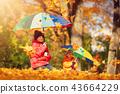 children, umbrella, leaves 43664229