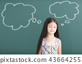 beautiful little girl thinking before chalkboard 43664255