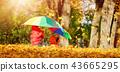 children, umbrella, leaves 43665295