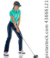 woman golfer golfing isolated 43666121