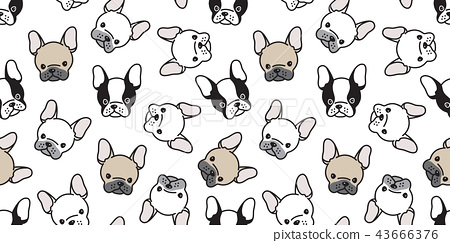 Dog seamless pattern french bulldog pug vector 43666376