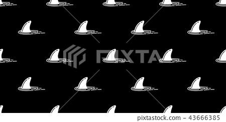 Shark fin seamless pattern vector dolphin ocean 43666385
