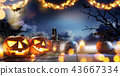 Spooky halloween pumpkins on wooden planks 43667334