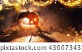 Spooky halloween pumpkin on wooden planks 43667343