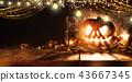 Spooky halloween pumpkin on wooden planks 43667345