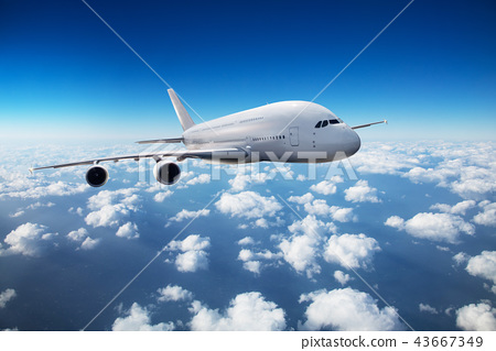 Two-storey passengers airplane flying above clouds 43667349