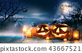 Scary horror background with halloween pumpkins 43667521