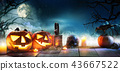 Scary horror background with halloween pumpkins 43667522