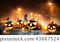 Scary horror background with halloween pumpkins 43667524