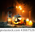 Scary horror background with halloween pumpkin 43667526