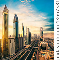Dubai sunset panoramic view of downtown 43667581