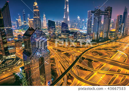 Dubai sunset panoramic view of downtown 43667583
