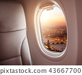 Airplane window view of London city, Europe. 43667700
