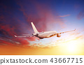 Passengers commercial airplane flying above clouds 43667715